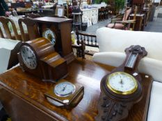 TWO MANTLE CLOCKS AND TWO BAROMETERS.