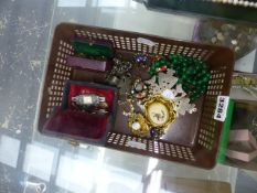 GREEN HARDSTONE BEADS, VICTORIAN BROOCHES, COPTIC SILVER CROSS, COCKTAIL WATCH, ETC.