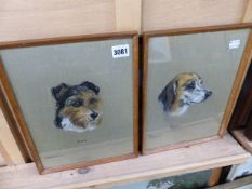 TWO DOGS STUDIES BY MARY BROWNING AND A WATERCOLOUR.
