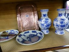 A PAIR OF CHINESE VASES, A PAIR OF PLATES, TWO EASTERN COPPER TRAYS, INKWELLS AND A LETTER OPENER.