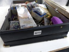 A LARGE BOX OF COSTUME JEWELLERY.