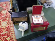 A QTY OF VINTAGE RECORD PLAYERS, RADIOS,ETC.