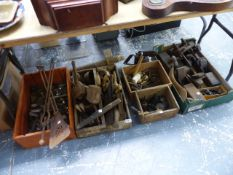 A SET OF VICTORIAN FIRESIDE TOOLS, VARIOUS BRASS FITTINGS, CARPENTER'S TOOLS,ETC.