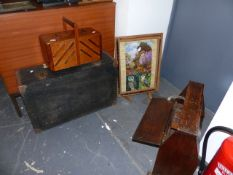TWO SEWING BOXES, A SUITCASE AND A FIRESCREEN.