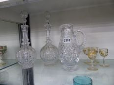 PAIRS OF DECANTERS AND JUGS TOGETHER WITH FIVE GILT GLASSES