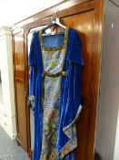 A MEDIEVAL STYLE VELVET AND EMBROIDERED DRESS, VINTAGE LUGGAGE,ETC.