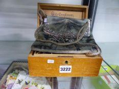 A BOX OF DRESS JEWELLERY TOGETHER WITH A JAPANESE HANDBAG