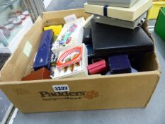 A BOX OF SILVER AND OTHER COSTUME JEWELLERY.