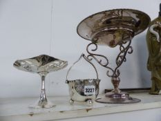 A PLATED STANDING SWEET DISH TOGETHER WITH A SUGAR BOWL AND A TALL TAZZA.