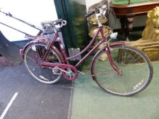 A RALEIGH FIVE SPEED LADIES BICYCLE WITH BROOKS SADDLE.