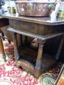 AN OAK CREDENCE TABLE.