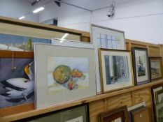 NINE WATERCOLOURS AND AN OIL PAINTING SIGNED PAMELA SERRELL.