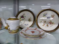 A PAIR OF BRASS MOUNTED TRAYS, THREE HEREND PLATES AND A HAND PAINTED TEAPOT.