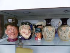 A QTY OF DOULTON CHARACTER JUGS, FIGURINES AND VASES.