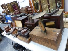 A LARGE COLLECTION OF VICTORIAN AND LATER WORK BOXES, COLLECTABLES, CADBURY CHOCOLATE TIN MONEY