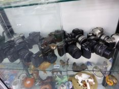 A COLLECTION OF PENTAX SLR CAMERAS.