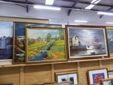 FOUR LARGE FRAMED OIL PAINTINGS AND A GILT FRAMED PRINT.