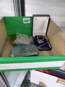 THREE LADY'S WRISTWATCHES, A POWDER COMPACT, MALTESE CROSS BROOCH AND A NECKLACE