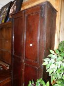 AN 18th.C.AND LATER OAK CABINET.