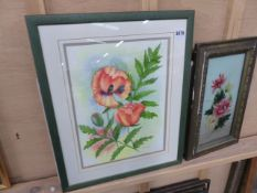 THREE FLORAL PAINTINGS AND A PRINT AFTER VERNON WARD.