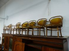 SIX BENTWOOD ARMCHAIRS.