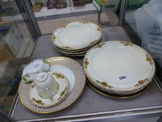 A PART SET OF LIMOGES GILT DECORATED PLATES, A SMALL HEREND BOWL, ETC.