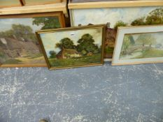 THREE OIL PAINTINGS AND A WATERCOLOUR.