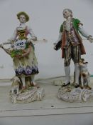 A PAIR OF CAPODIMONTE FIGURES IN 18th.C. DRESS