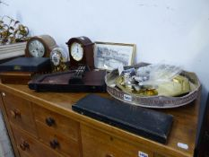 TWO CLOCKS, VARIOUS CUTLERY, TRAY,ETC.