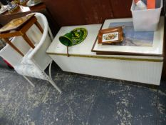 A LOOM BOX, LOOM CHAIR AND A SEWING TABLE.