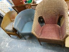 TWO LLOYD LOOM CHAIRS AND ONE OTHER.