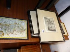 ANTIQUE ETCHINGS AND A MAP.