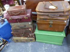 A VICTORIAN PINE BOX AND VARIOUS LUGGAGE.