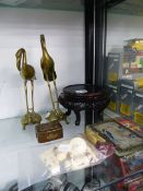 AN ORIENTAL CARVED WOOD STAND, A PAIR OF BRONZE CRANES,ETC.