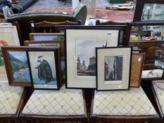 A COLLECTION OF ANTIQUE AND LATER PRINTS AND PICTURES AND TWO MIRRORS.