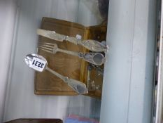 A BIRMINGHAM SILVER CHRISTENING KNIFE, FORK AND SPOON