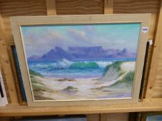 AN OIL PAINTING TABLE MOUNTAIN AND A PRINT.