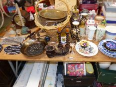 A MANTLE CLOCK, COLLECTOR'S PLATES, CUTLERY, TOOLS,ETC.