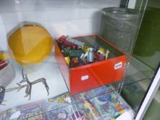 A QTY OF VINTAGE DIE CAST VEHICLES, AFRICAN BRASS FIGURES, TREEN, ETC.