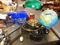 A DESK LAMP, A GLOBE, WALL CLOCK, ETC.