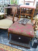 TWO 19th.C.BOX STOOLS AND A PAINTED CHAIR.