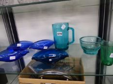 SEVEN BLUE AND GREEN GLASS WARES