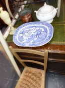 A LARGE BLUE AND WHITE MEAT PLATTER, THREE BLINDS, A BEDROOM CHAIR,ETC.