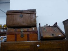 A COAL BOX AND TWO TIN TRUNKS;