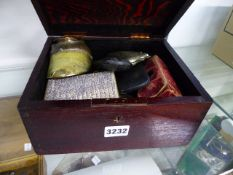 A STAINED PINE BOX OF MEDALS DRESS JEWELLERY, OPERA GLASSES AND MISCELLANEA