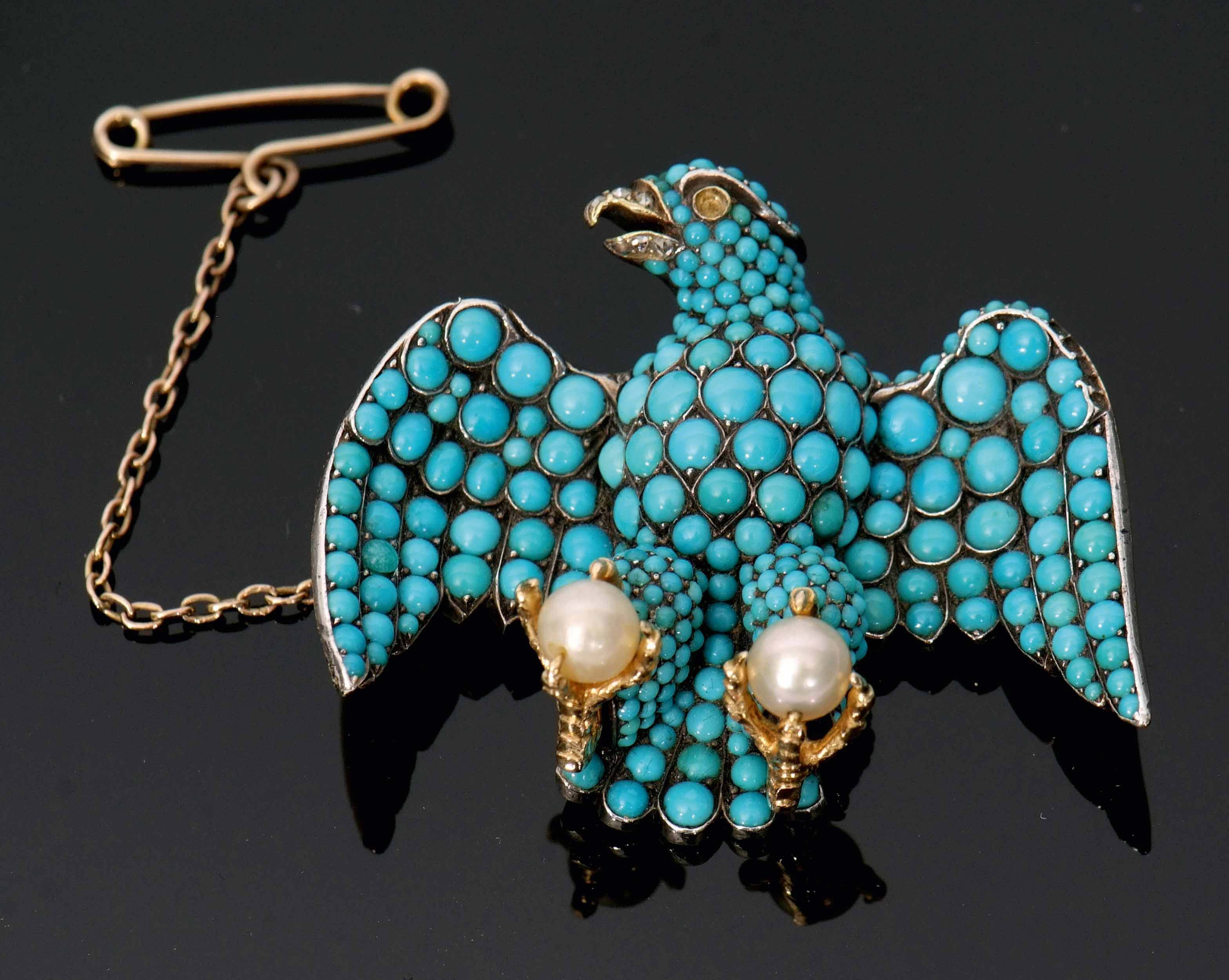 """Lot 504 - An interesting Victorian gold and silver brooch in the form of """"The Coburg Eagle"""". The front with"""