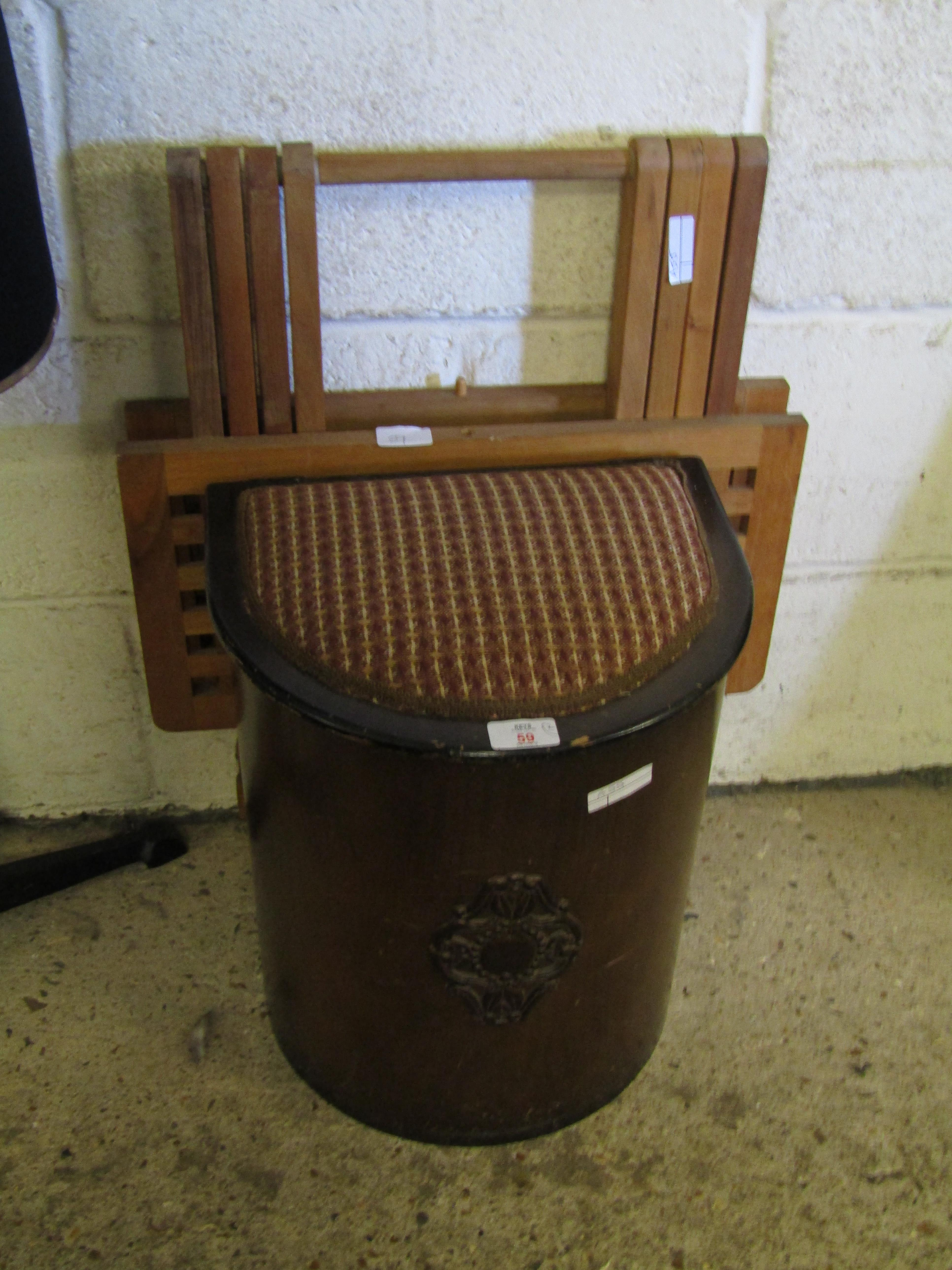 Lot 59 - PRESSED PLY WOOD LIFT UP TOP STOOL AND A TEAK LATTICE TOP FOLDING TABLE