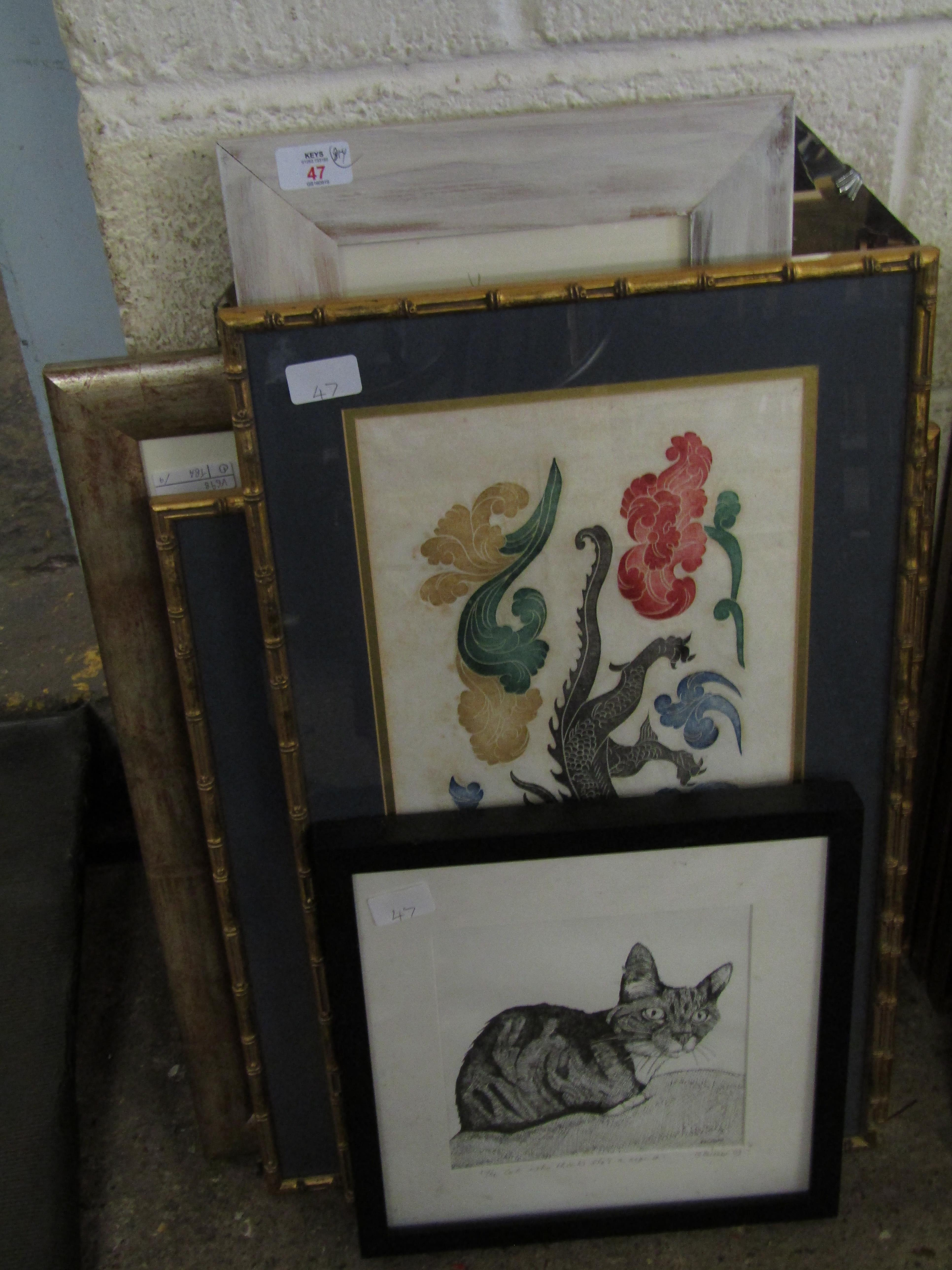 Lot 47 - GROUP MIXED PICTURES, PRINTS FURTHER MIRROR ETC