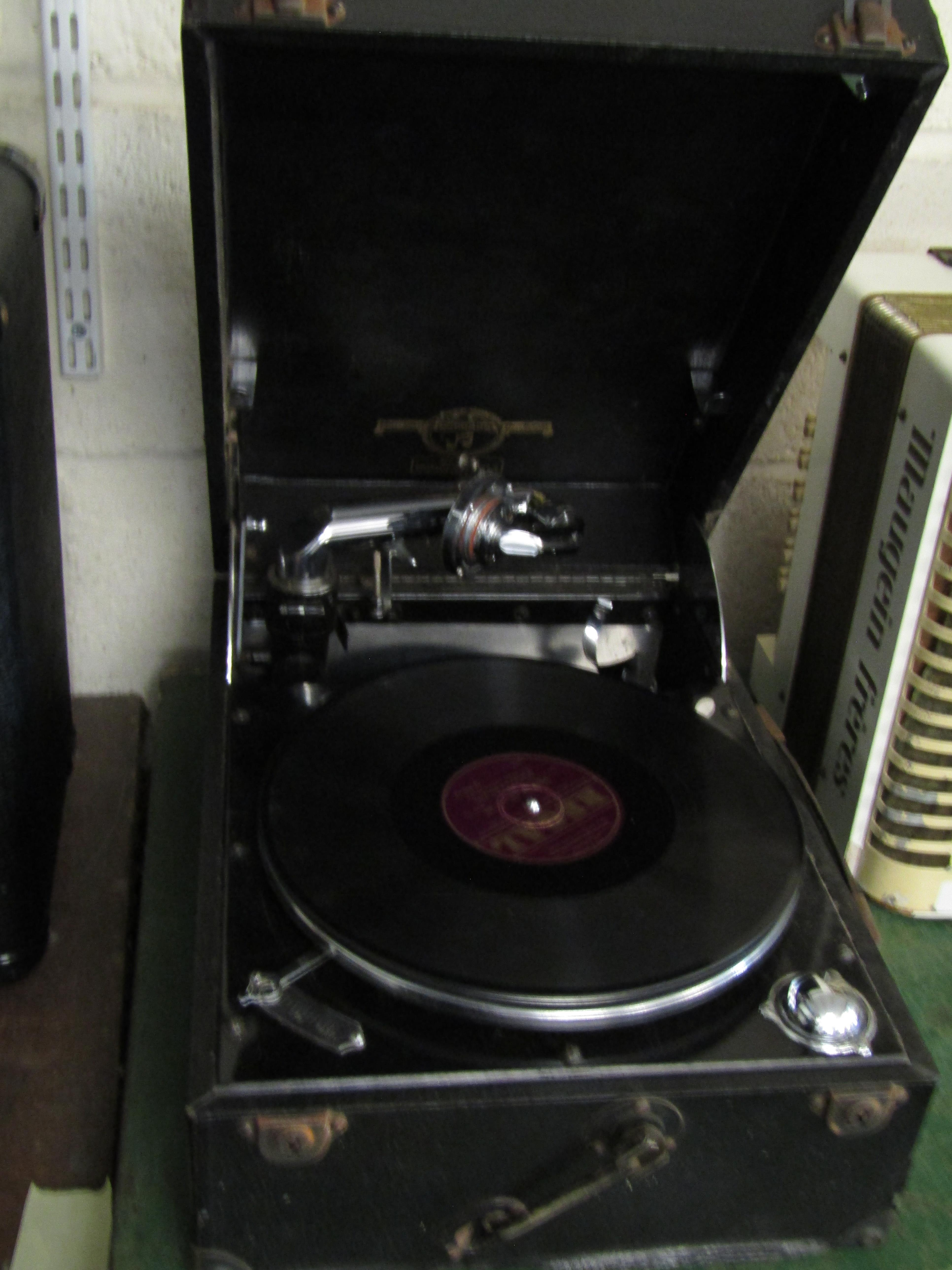 Lot 45 - REXINE CASED COLUMBIA RECORD PLAYER MODEL 202