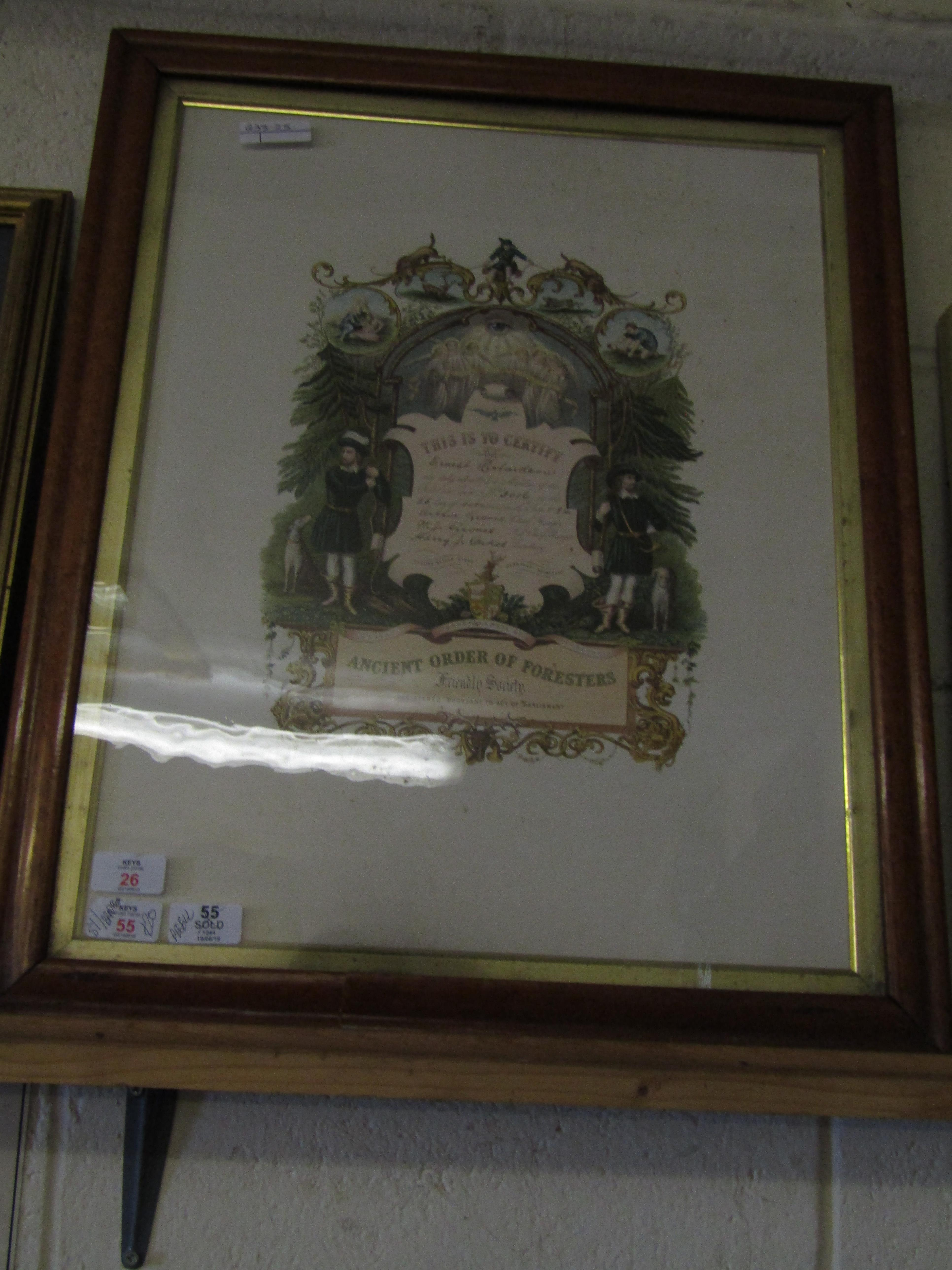 Lot 26 - FRAMED ANCIENT ORDER OF FORESTERS
